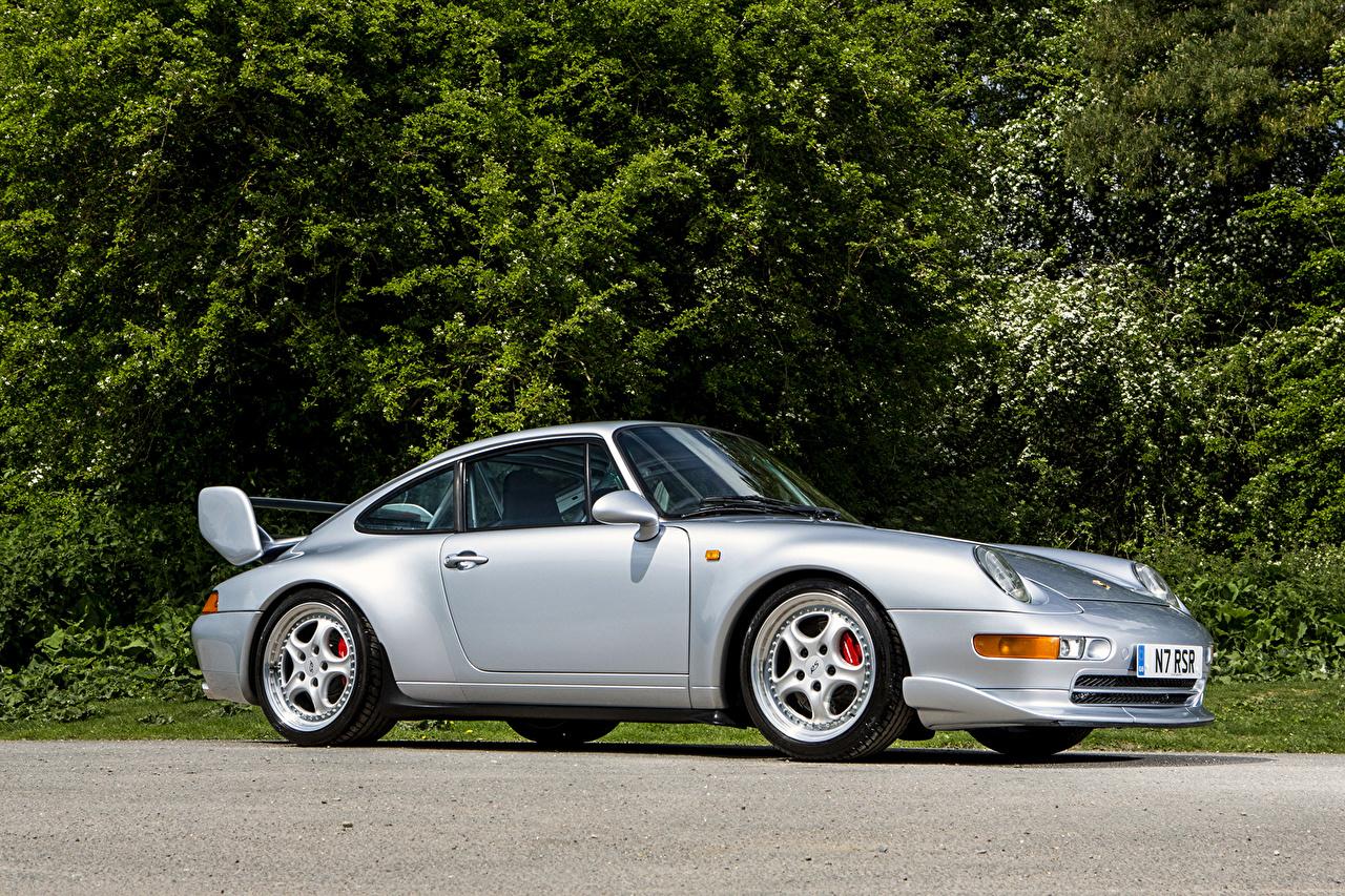 Картинка Порше 1995 911 Carrera RS Club Sport серебряный Сбоку Автомобили Porsche серебряная серебристая Серебристый авто машина машины автомобиль