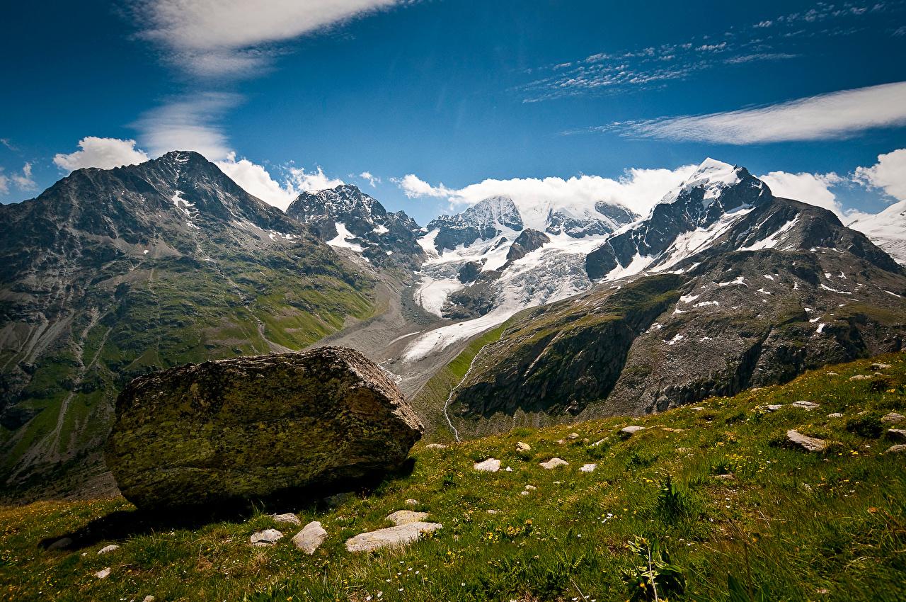 Обои для рабочего стола Альпы Швейцария Graubünden гора Природа Камни облачно альп Горы Камень Облака облако