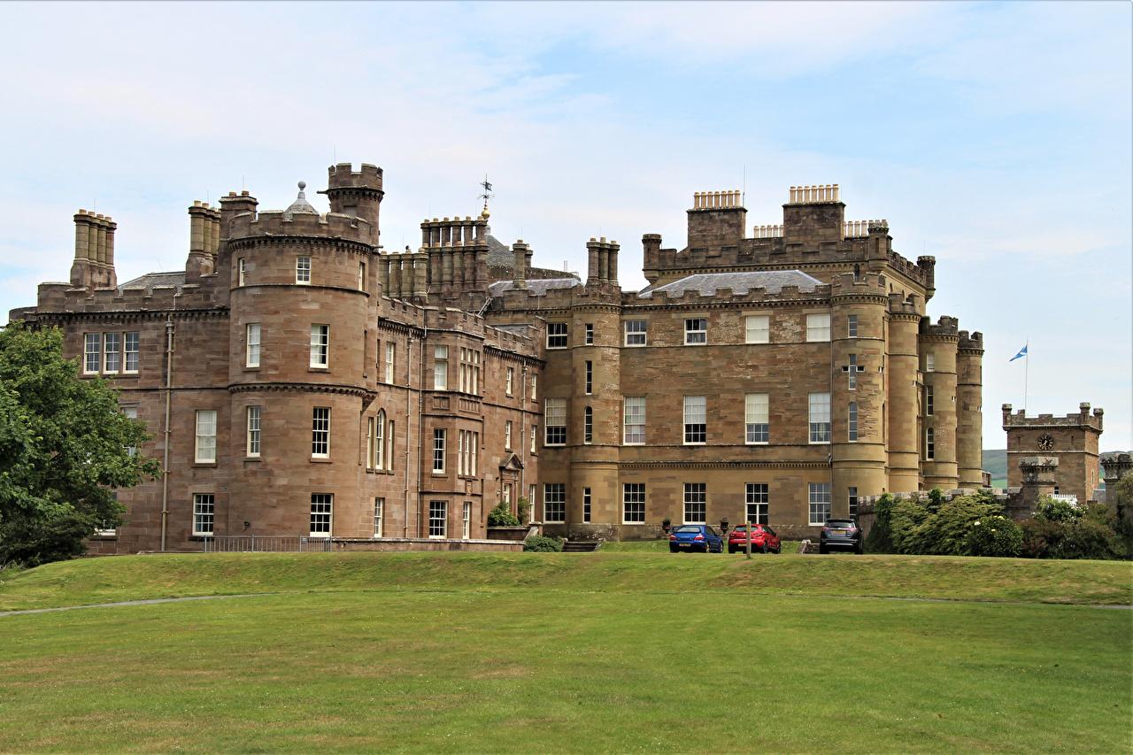 Фото Великобритания Culzean Castle замок Газон Города Замки газоне город