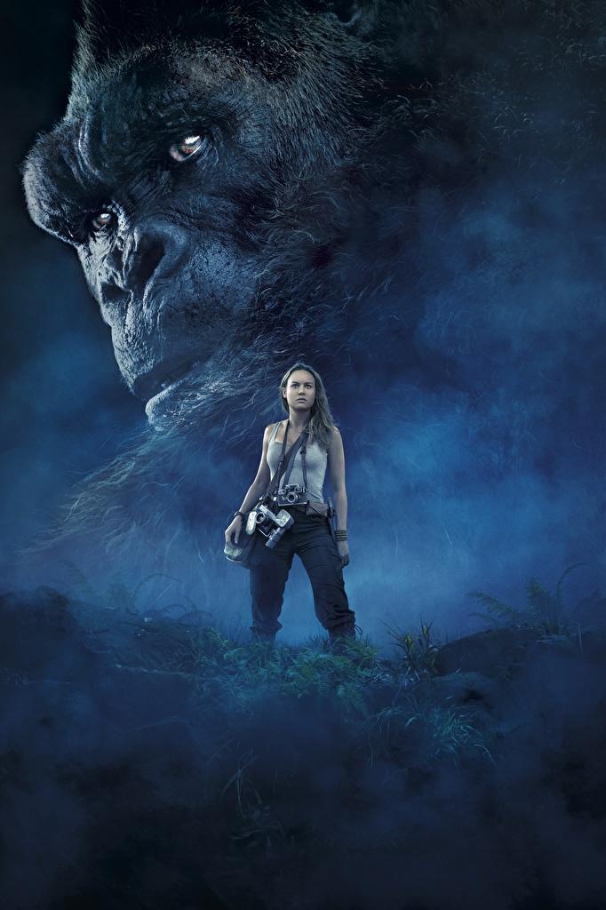 Фотография Конг: Остров черепа Обезьяны Brie Larson Девушки кино морды  для мобильного телефона обезьяна девушка молодая женщина молодые женщины Фильмы Морда