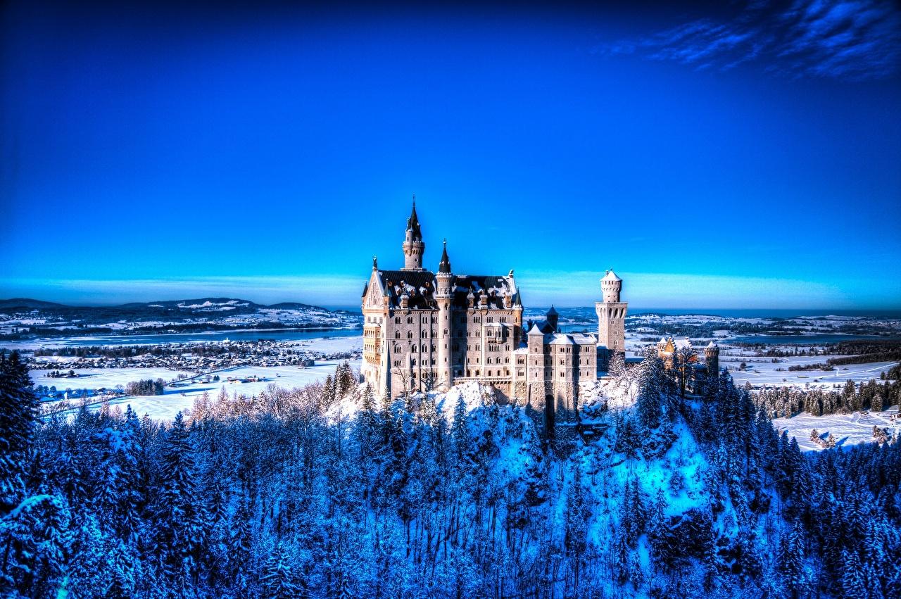Фото Нойшванштайн Германия зимние Природа город Зима Города