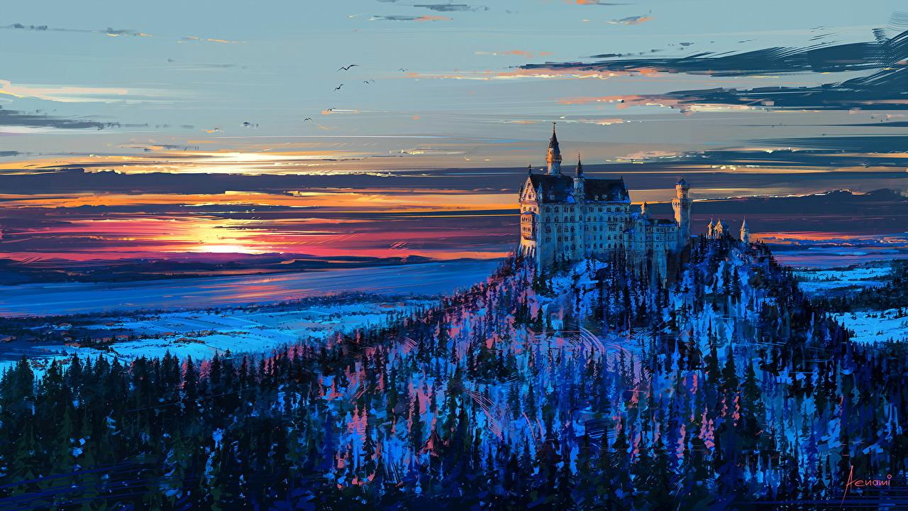 Картинки Бавария Нойшванштайн Германия Замки Рассветы и закаты город деревьев Рисованные дерева дерево Города Деревья