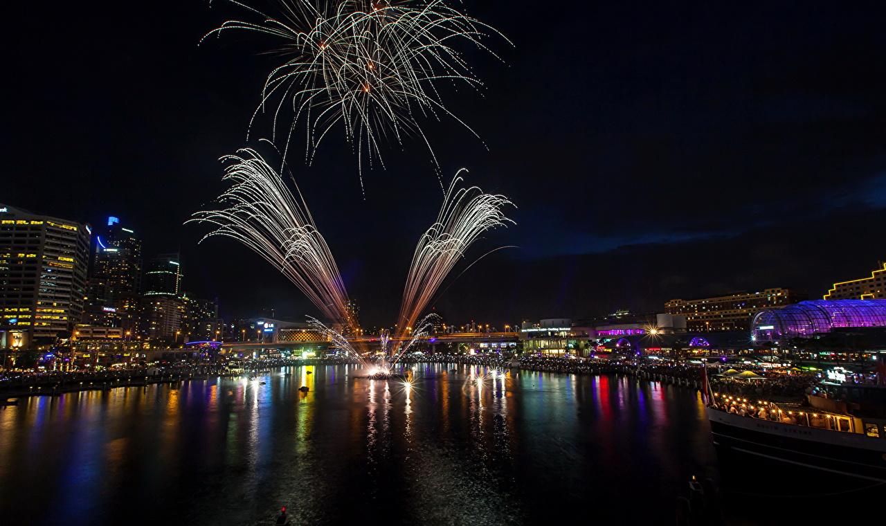 Обои для рабочего стола Сидней Салют Австралия Day Firework ночью город фейерверк Ночь в ночи Ночные Города
