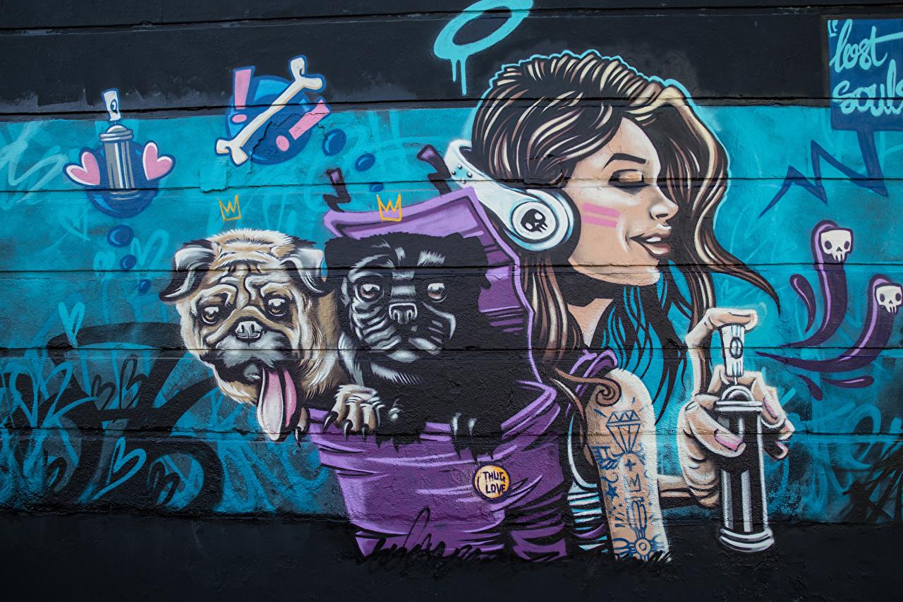 Обои для рабочего стола собака Lost Souls девушка Граффити Стена Собаки Девушки молодые женщины молодая женщина стене стены стенка