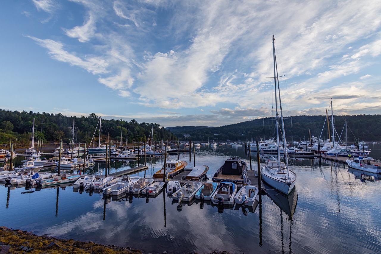 Фото штаты Acadia National Park парк Яхта Пирсы Катера Парусные Города США америка Парки Причалы Пристань город