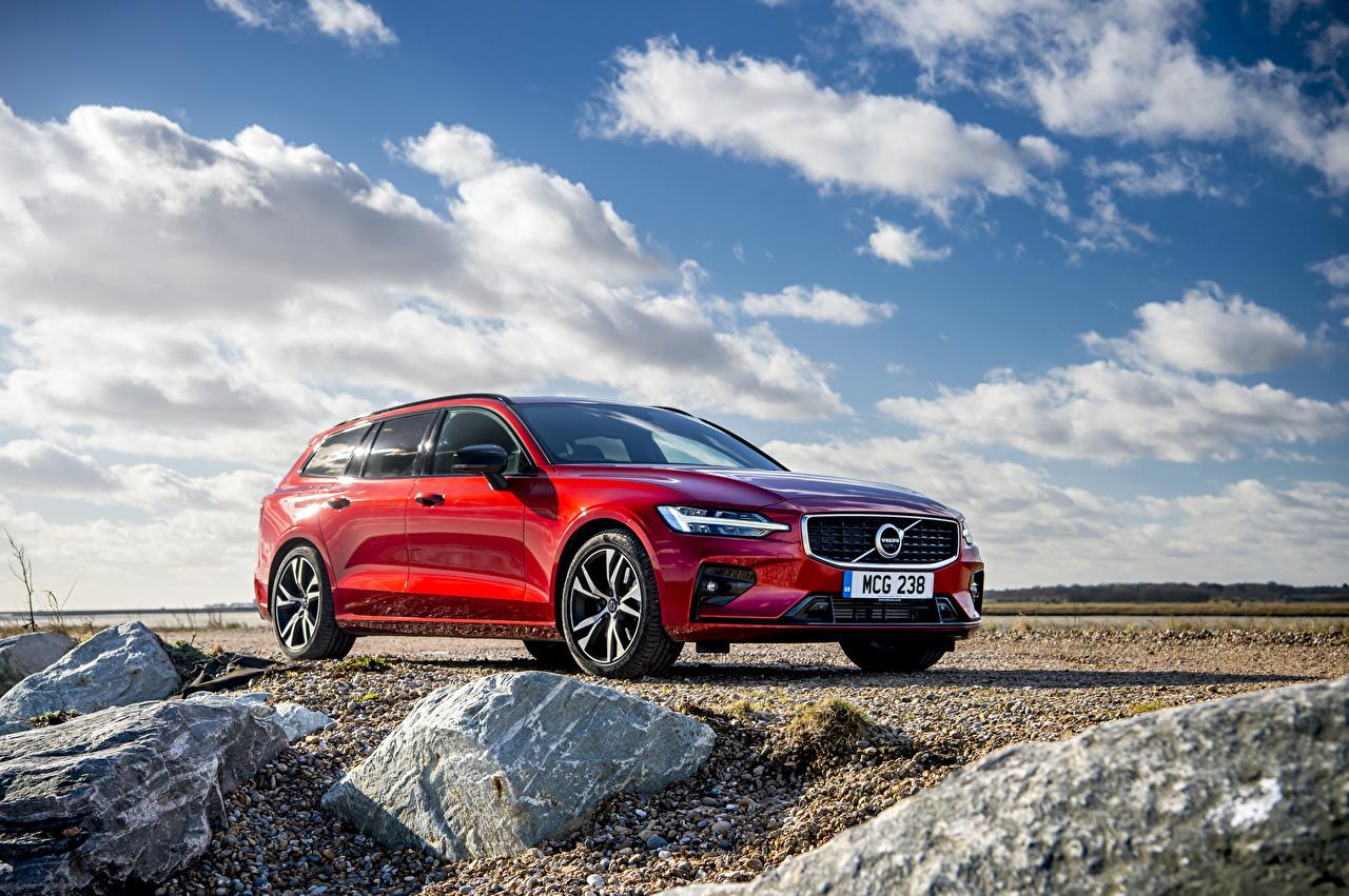 Картинка Volvo 2018-19 V60 T5 R-Design красных Автомобили Вольво Красный красные красная авто машина машины автомобиль