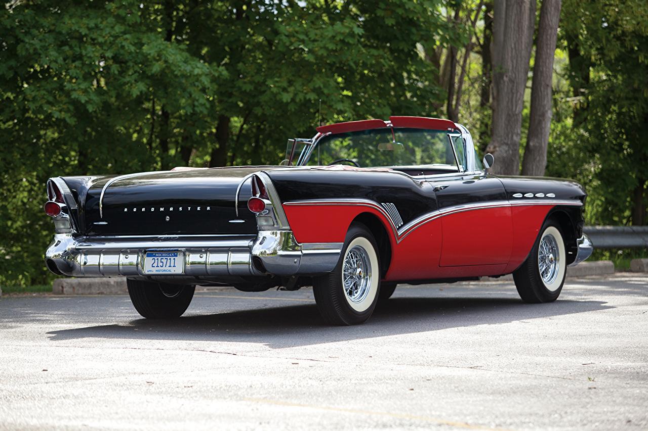 Обои для рабочего стола Бьюик 1957 Roadmaster Convertible (76C-4767X) кабриолета Ретро машины Buick Кабриолет винтаж старинные авто машина автомобиль Автомобили
