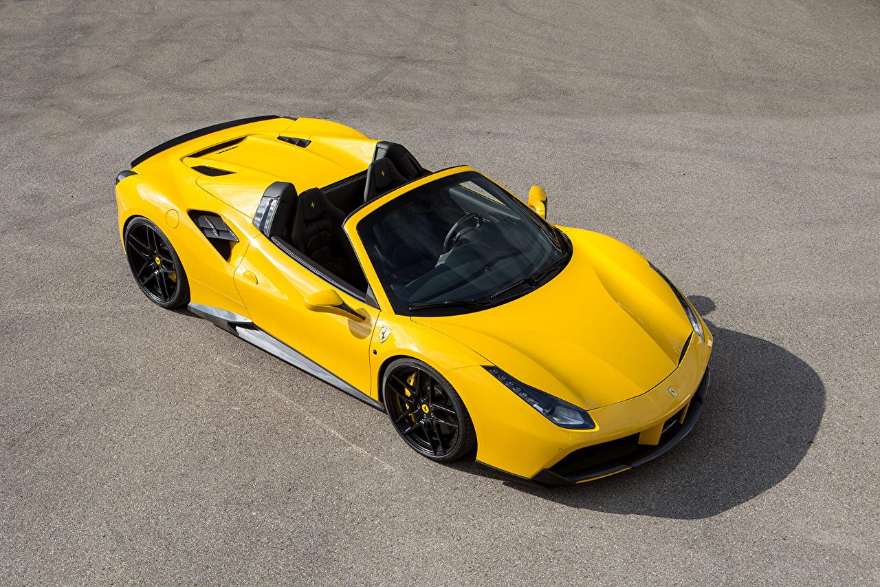 Картинка Феррари 2016 Novitec Rosso 488 Spider кабриолета Желтый машина Сверху Металлик Ferrari Кабриолет желтых желтые желтая авто машины автомобиль Автомобили