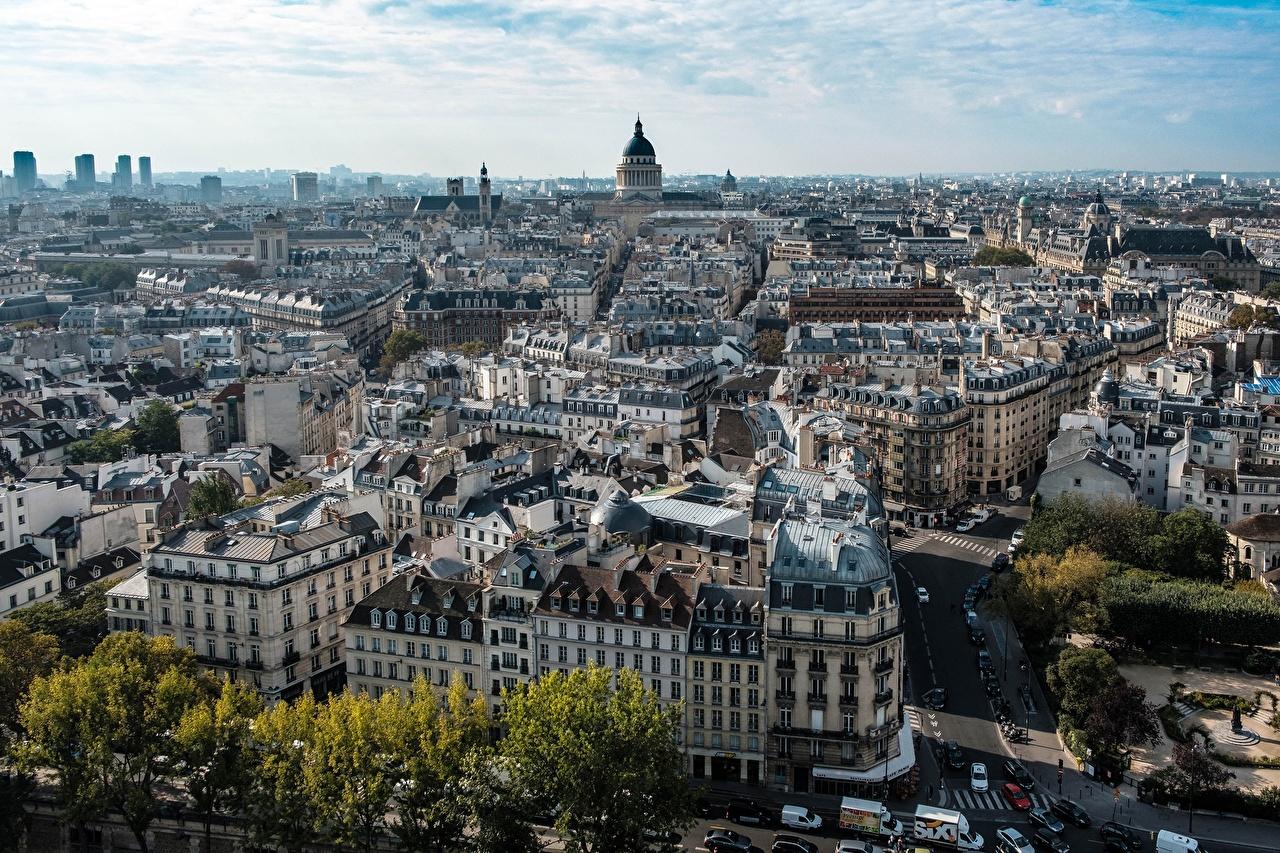 Фото Париж Франция Сверху Дома город париже Города Здания