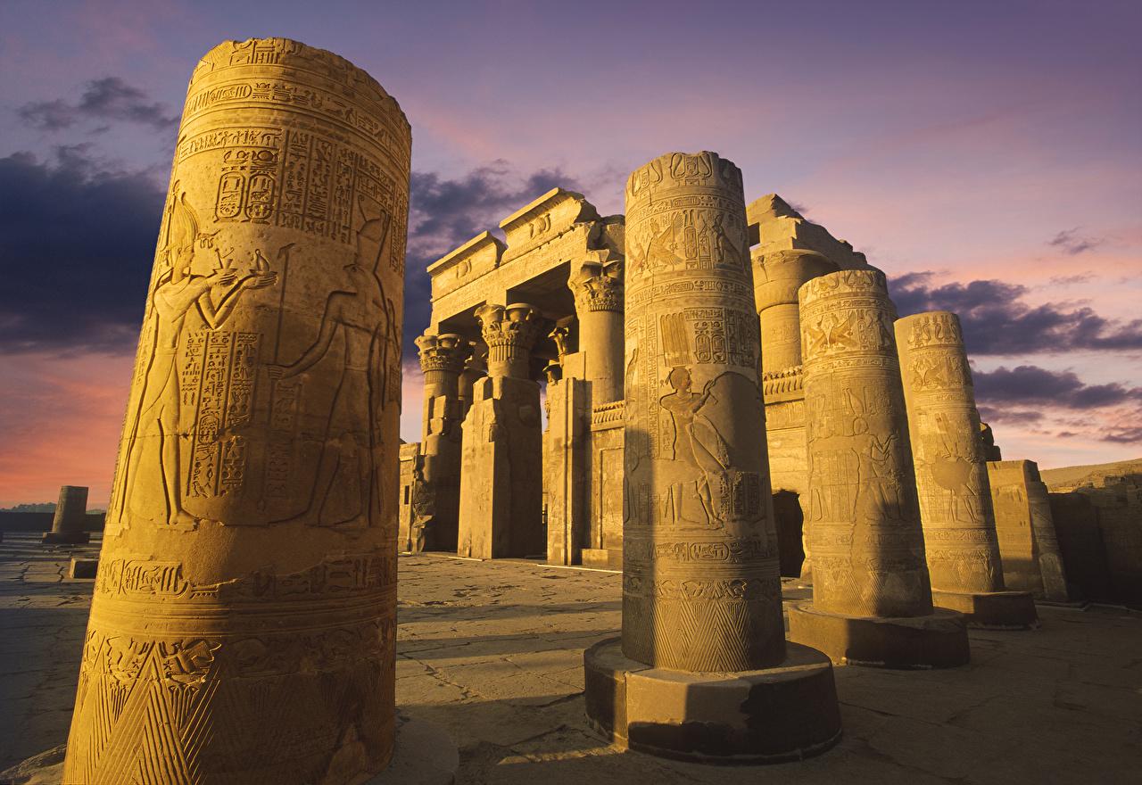 Фотография Египет Колонна Temple of Kom Ombo Развалины храм Вечер Города колонны Руины Храмы город