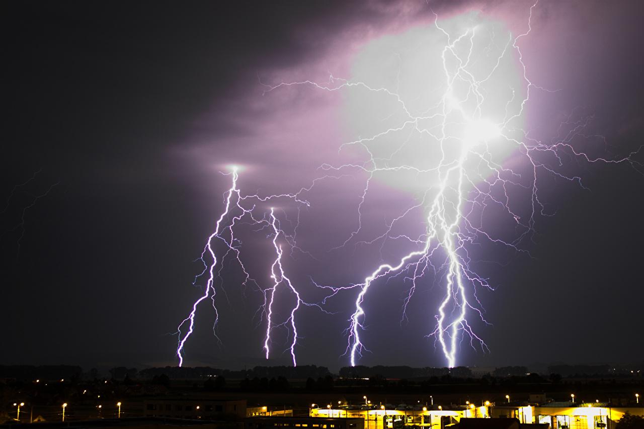 Фотография молнии Природа Небо Молния