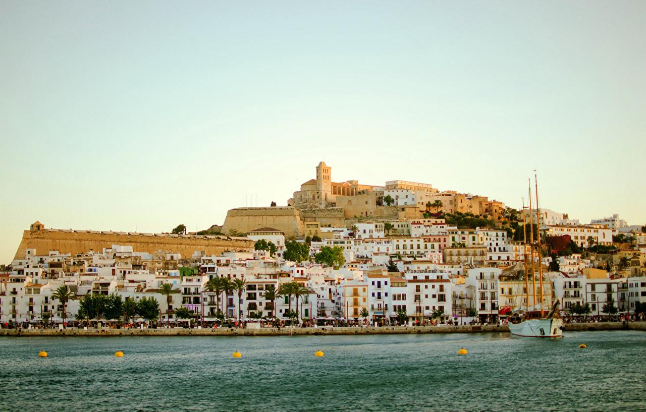 Фотографии Испания Ibiza Море Пирсы Города Здания Причалы Пристань Дома