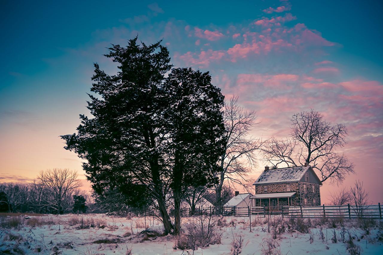 Фотографии США Gettysburg National Military Park Pennsylvania зимние Природа Снег Здания Деревья штаты Зима Дома