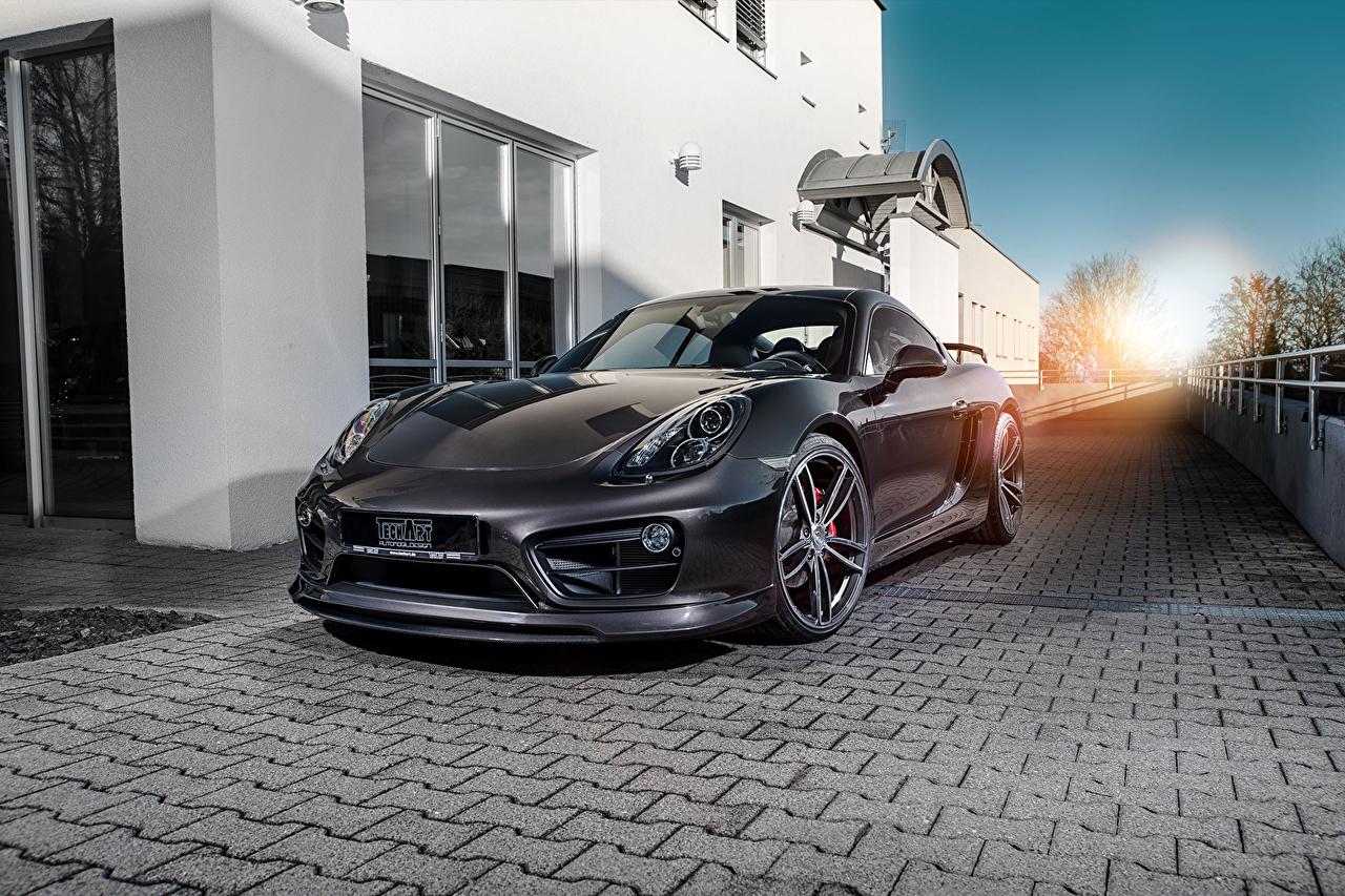 Фотографии Porsche 2013-16 TechArt Cayman S (981C) черная машина Металлик Порше черных черные Черный авто машины автомобиль Автомобили