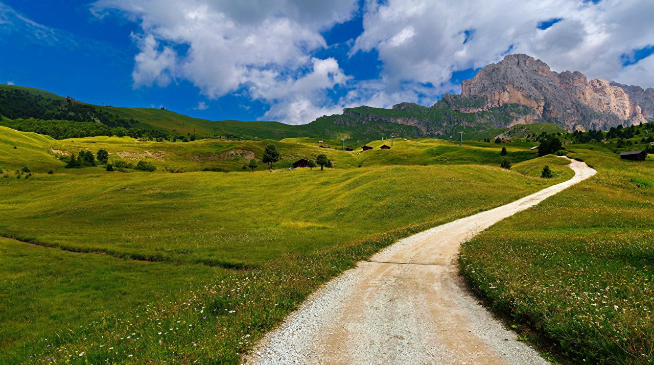 Обои для рабочего стола Альпы Италия Trentino-Alto Adige Горы Природа Дороги облако альп гора Облака облачно