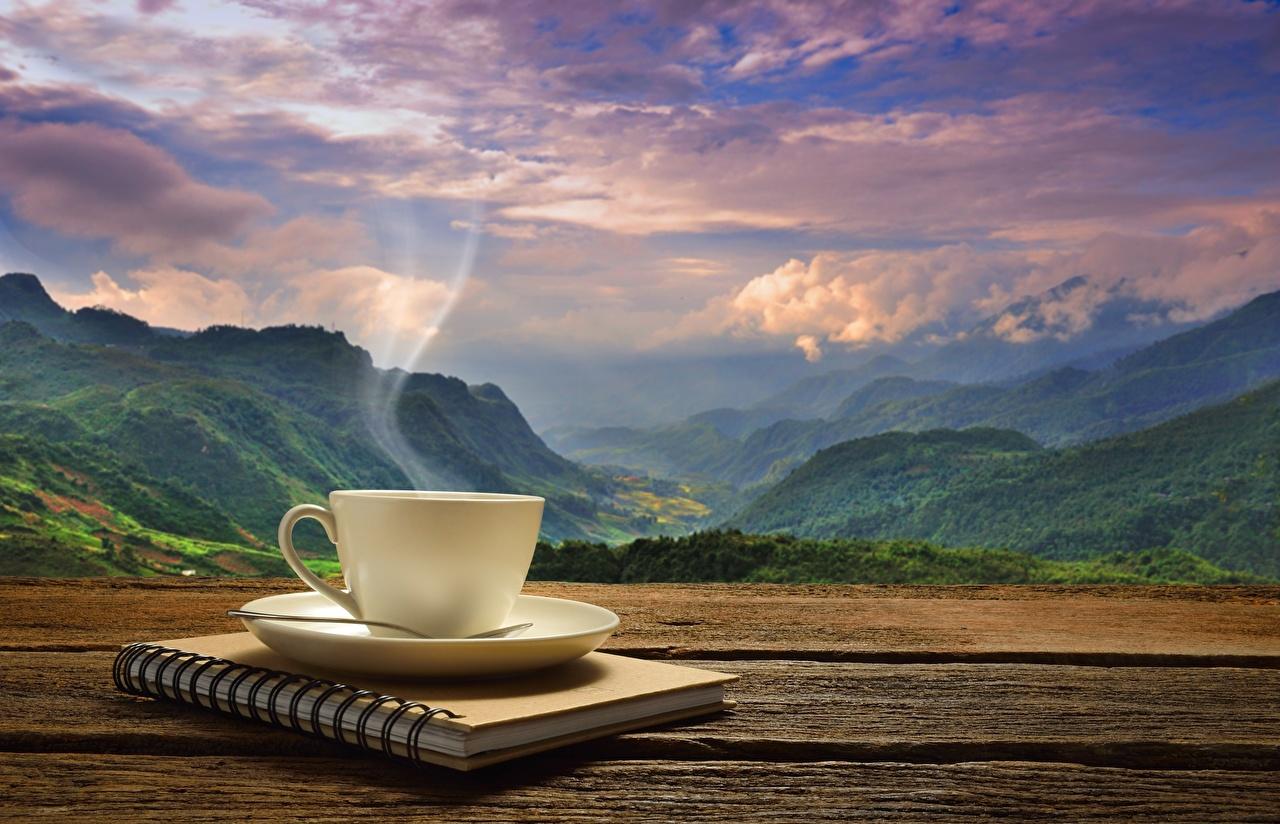 Фотография Блокнот Кофе Горы Природа Пейзаж паром чашке гора Пар пары Чашка