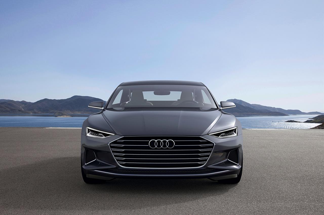 Обои для рабочего стола Ауди 2014, Prologue, Concept Купе серая машина Спереди Металлик Audi Серый серые авто машины Автомобили автомобиль