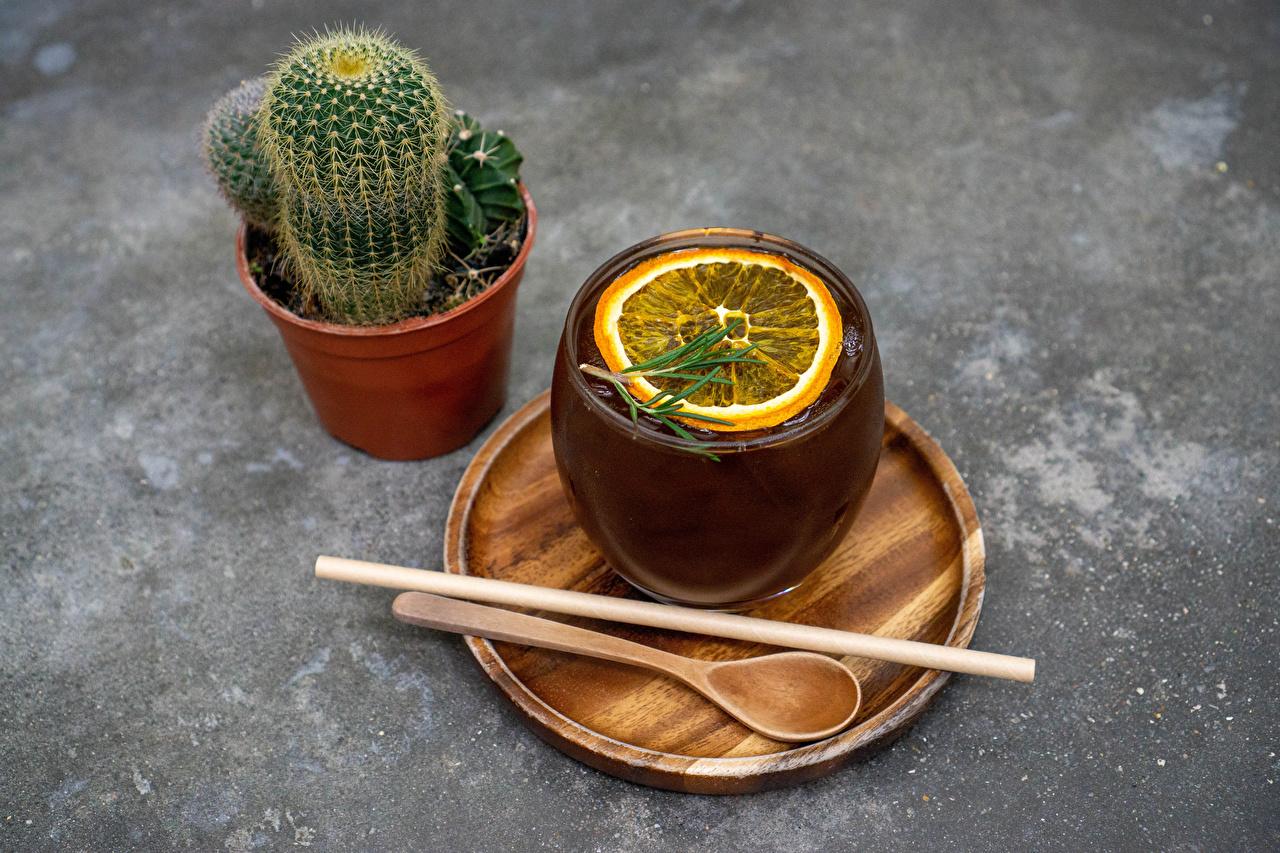 Фотография Чай Цветочный горшок Лимоны цветок Пища Ложка Чашка Кактусы Цветы Еда чашке ложки Продукты питания