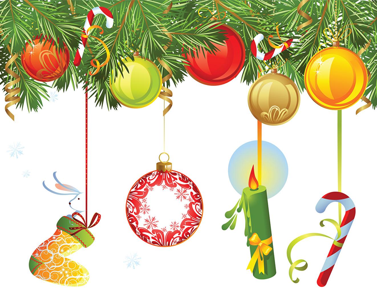 Фотографии Рождество Шар Свечи ветка Новый год Ветки ветвь Шарики на ветке