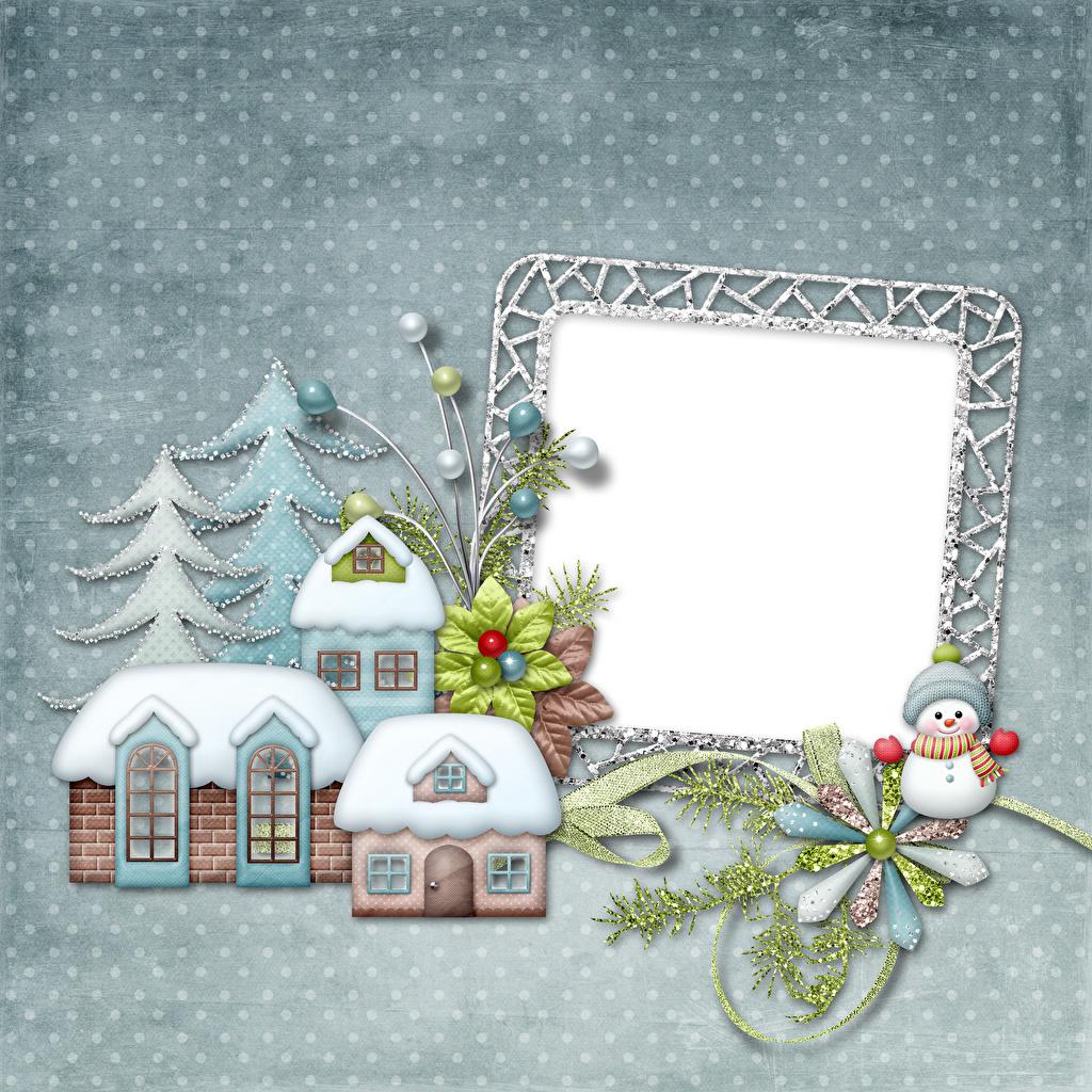 Картинка Новый год Елка снеговик на ветке Шаблон поздравительной открытки Дома Рождество Новогодняя ёлка Снеговики снеговика ветвь ветка Ветки Здания