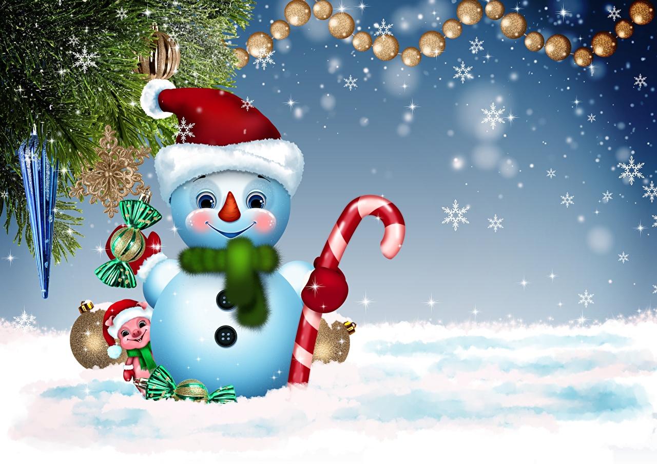 Фотографии Рождество Шарф Шапки снежинка Снеговики Новый год шарфе шарфом шапка в шапке Снежинки снеговик снеговика