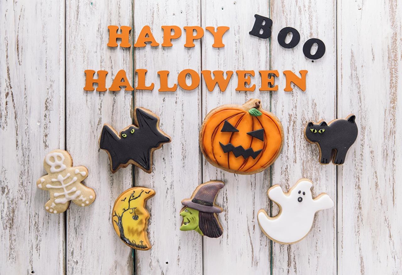 Картинки Праздники инглийские Happy Boo Halloween Слово - Надпись Хеллоуин Печенье Доски Английский английская текст слова