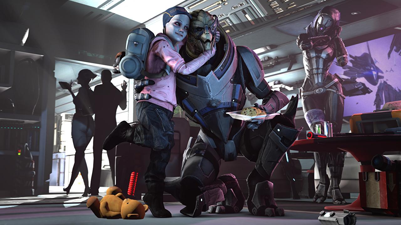 Картинки Tali Zorah Mass Effect Инопланетяне Garrus Vakarian Дети 3D Графика Фантастика Игры Ребёнок Фэнтези