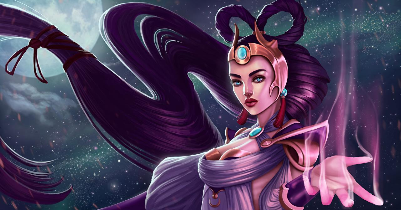Фотографии LOL волшебство Lunar Goddess Diana Фэнтези Девушки Игры Луна Ночные League of Legends Магия Фантастика Ночь