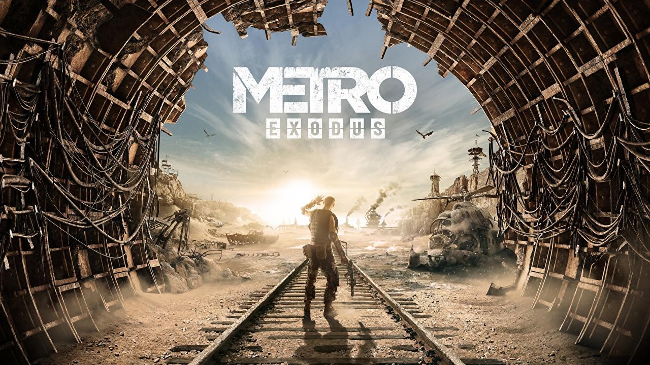 Картинки Metro Exodus рельсах тоннель Игры Рельсы Туннель компьютерная игра
