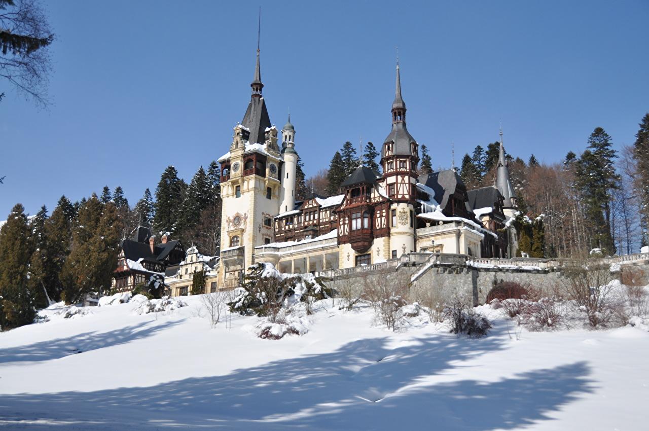 Фотография Румыния Peles castle, Transylvania Замки зимние Снег Города Зима