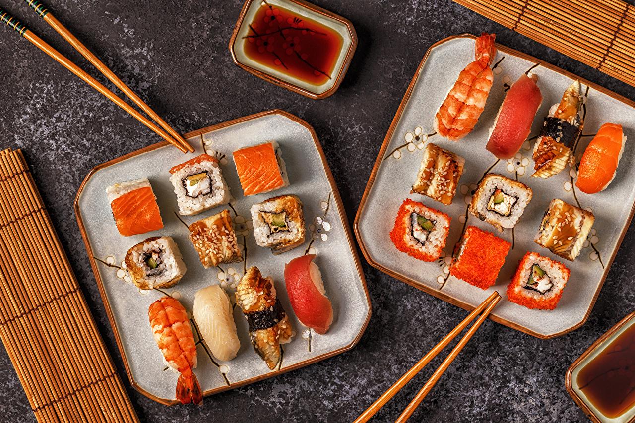 Фото Суши Еда Палочки для еды Морепродукты суси Пища Продукты питания