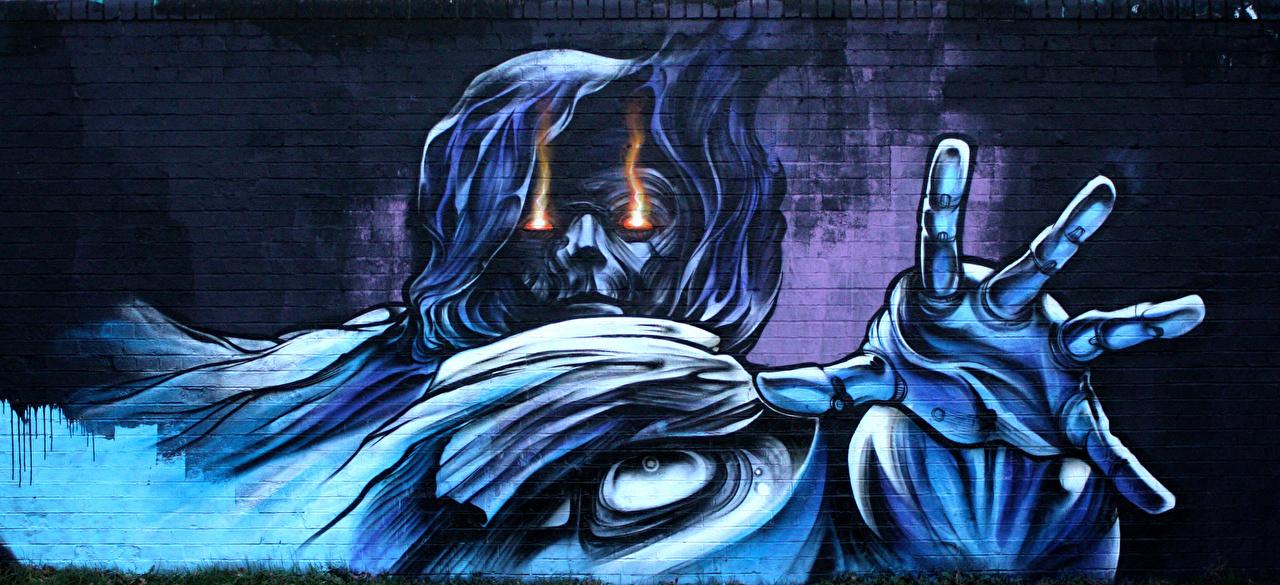 Обои для рабочего стола Граффити из кирпича стене Кирпичный Стена стены стенка