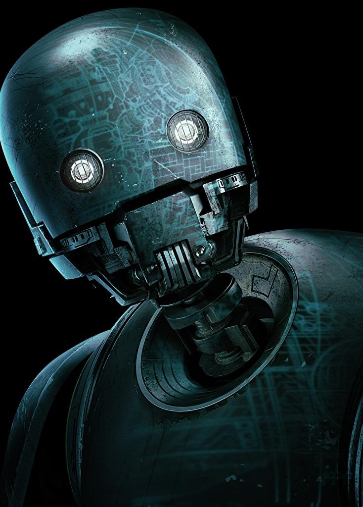 Картинки Изгой-один. Звёздные войны: Истории Робот K-2SO Фильмы Голова Черный фон Кино