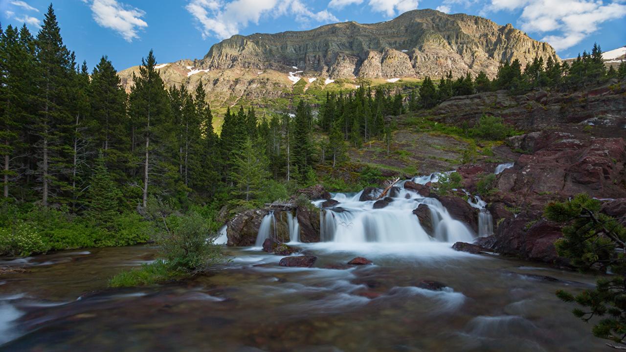 Фото США Glacier National Park Горы Скала Природа Водопады парк деревьев штаты америка гора Утес скале скалы Парки дерево дерева Деревья