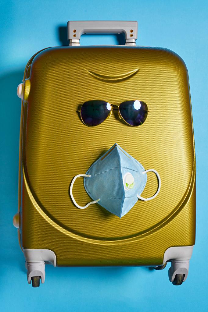 Картинка Коронавирус Чемодан оригинальные Маски очков Цветной фон  для мобильного телефона Креатив чемоданы чемоданом креативные Очки очках