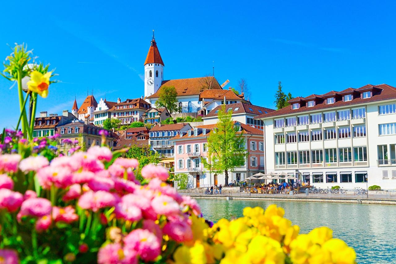 Фотографии Швейцария Aare River, Thun Дома Города город Здания
