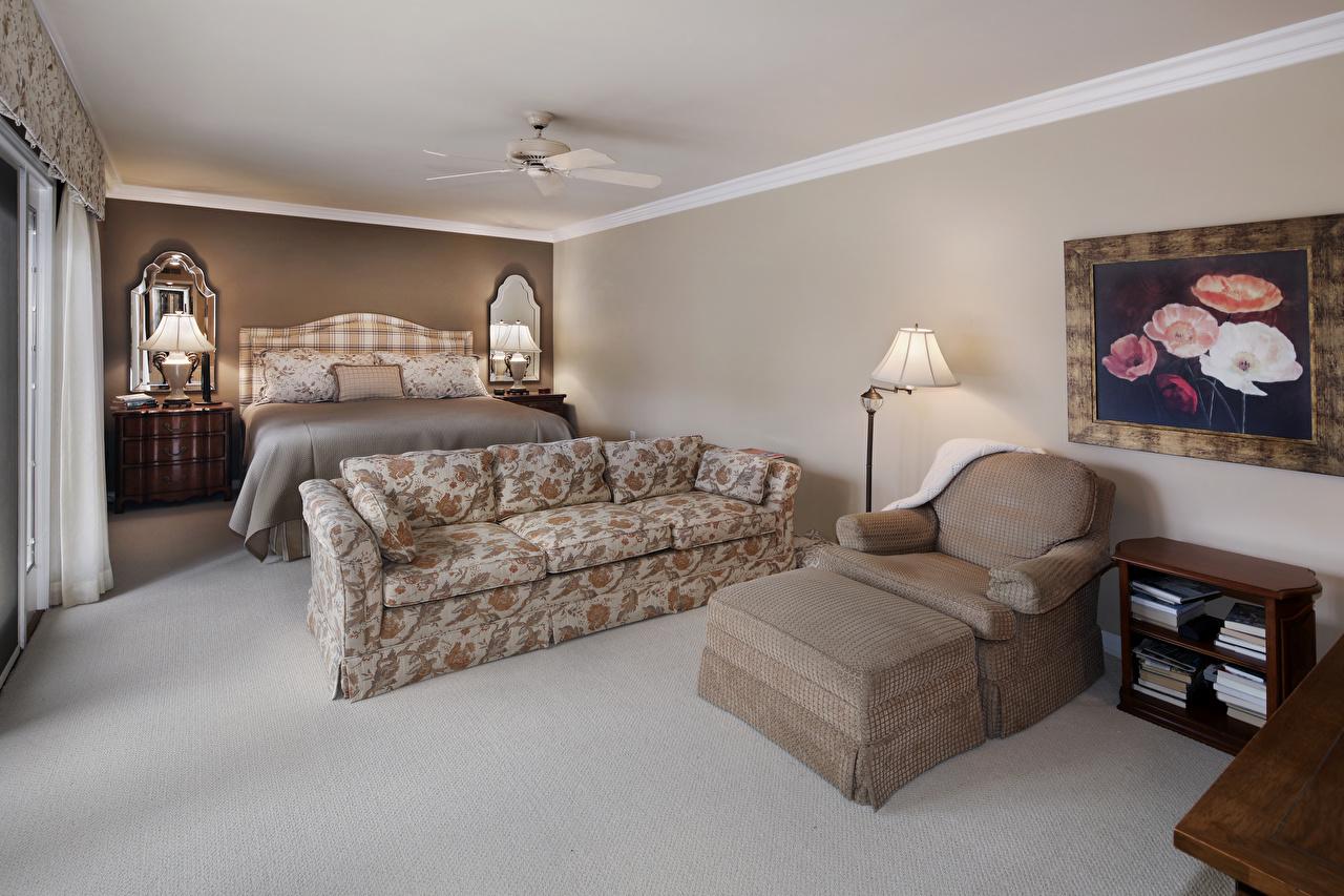 Обои для рабочего стола Спальня Интерьер Лампа Диван Кресло Кровать дизайна спальни спальне ламп лампы диване кровате кровати Дизайн