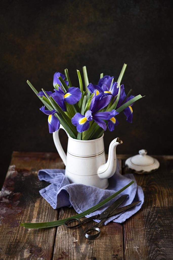 Картинки Ирисы Цветы Чайник Доски