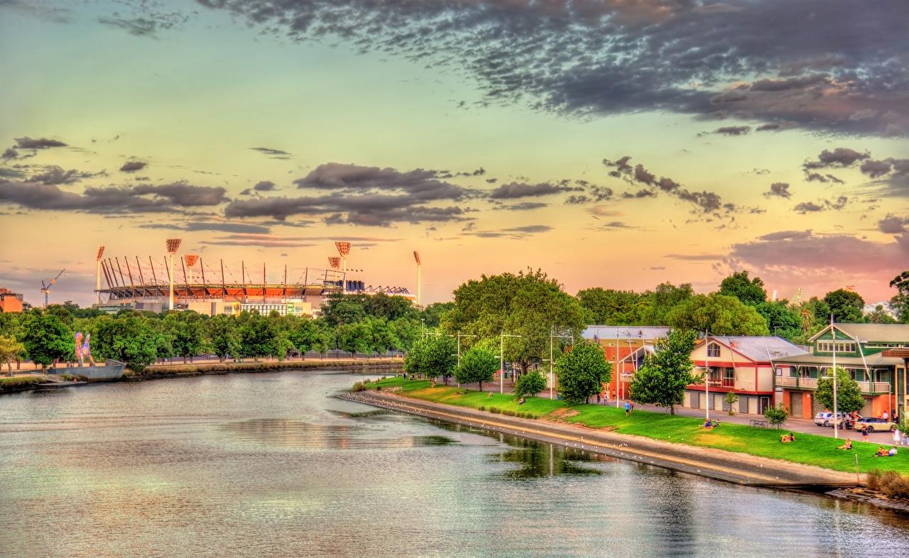 Фотографии Мельбурн Австралия Yarra River HDR Реки Дома Города HDRI речка Здания