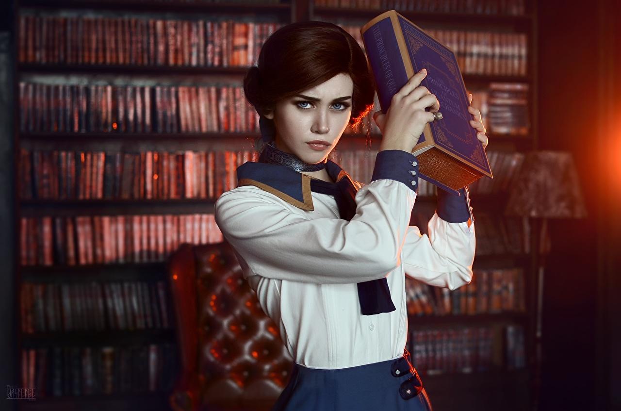 Фотографии BioShock Infinite Косплей Библиотека Elizabeth Девушки Фэнтези Игры Книга Фантастика