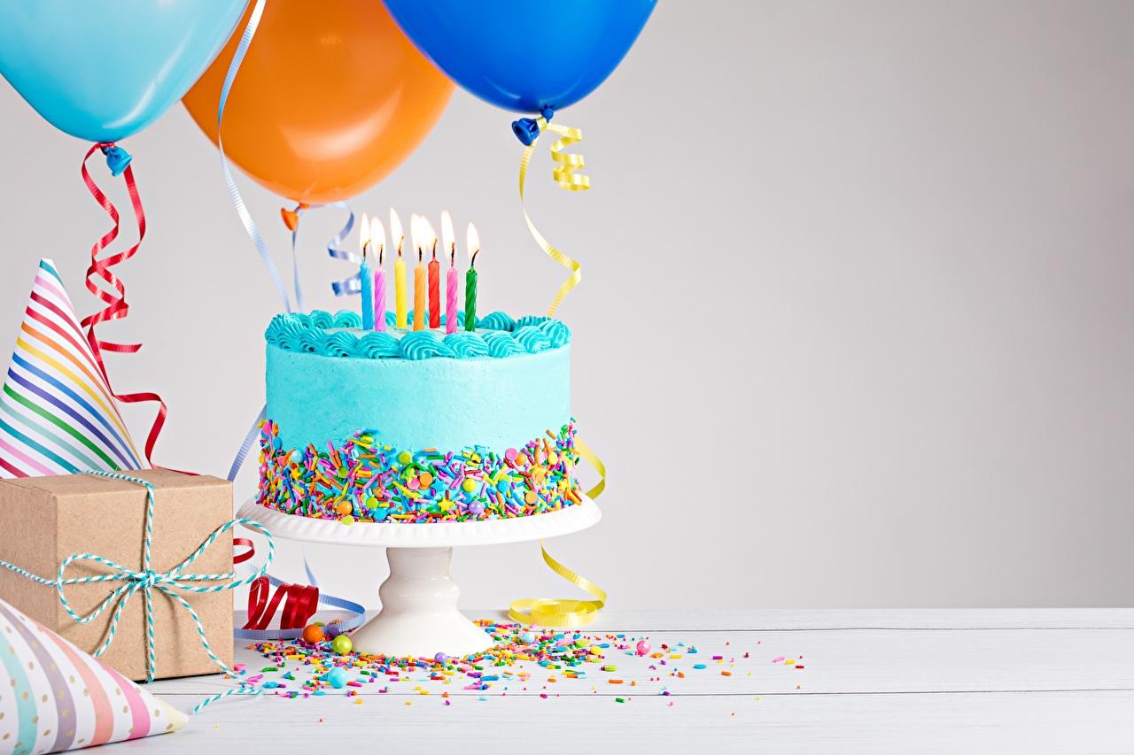 Фото День рождения Торты Пища Свечи Еда Продукты питания