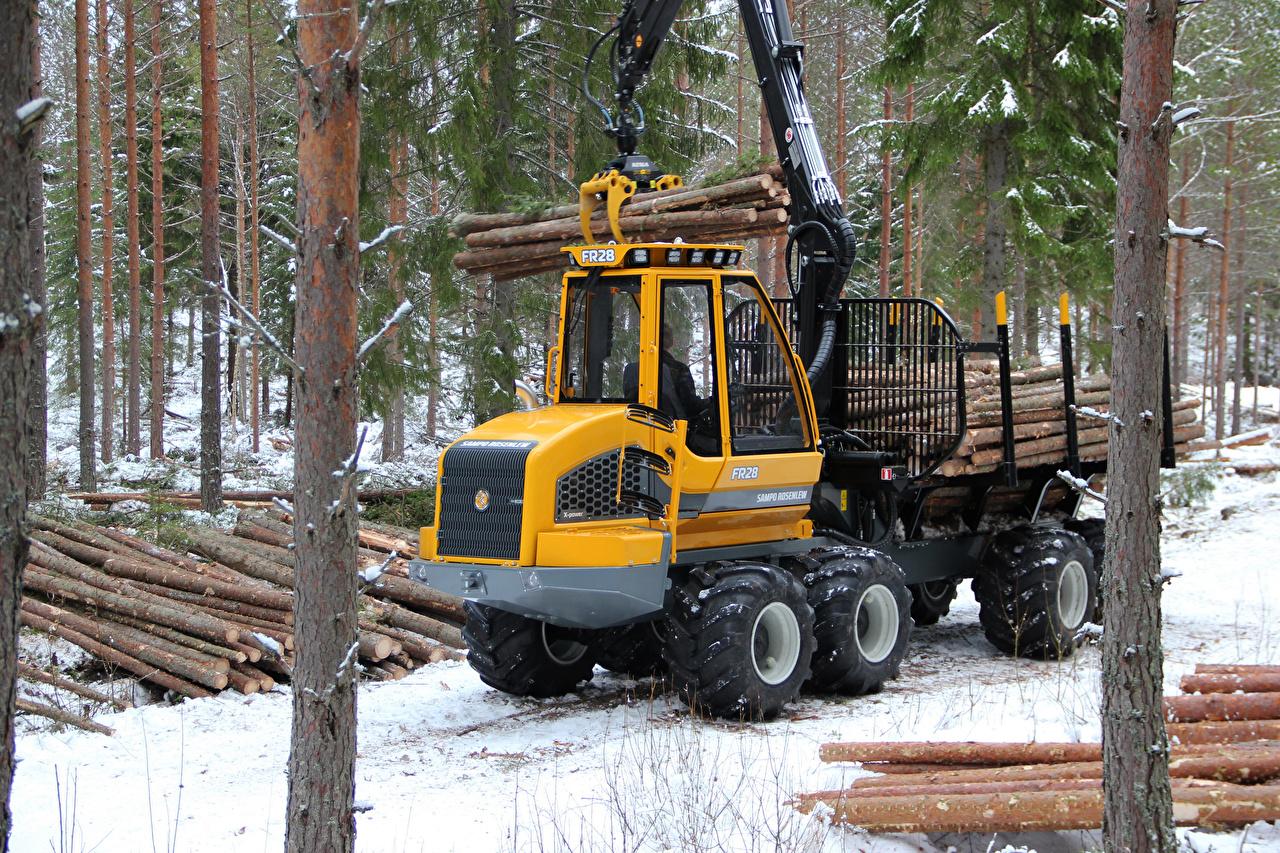 Фото Форвардер 2013-17 Sampo Rosenlew FR28 зимние Бревна Леса Зима бревно лес