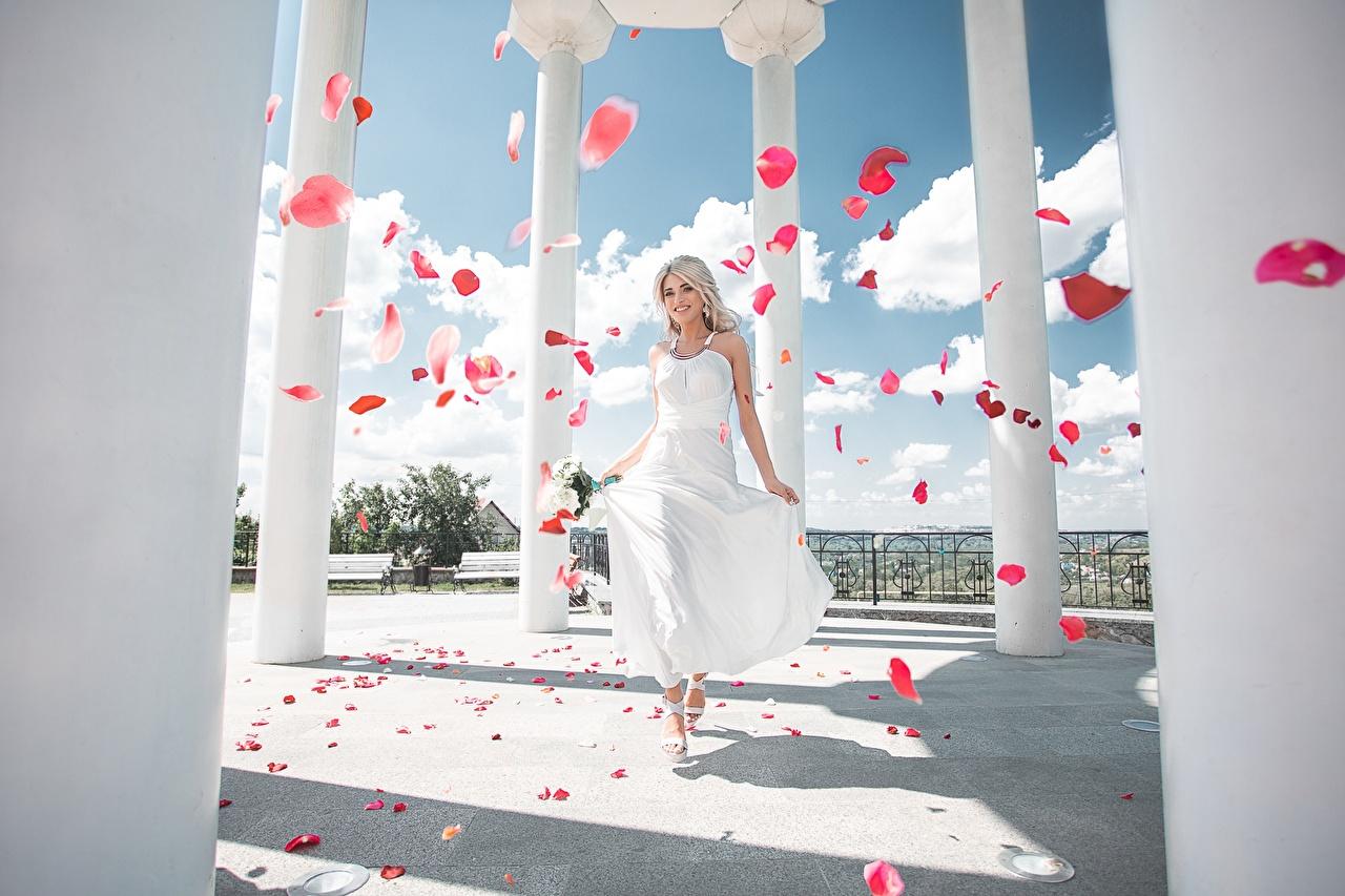 Фото колонны Maxim Tumanov Девушки Лепестки платья Колонна девушка лепестков молодые женщины молодая женщина Платье