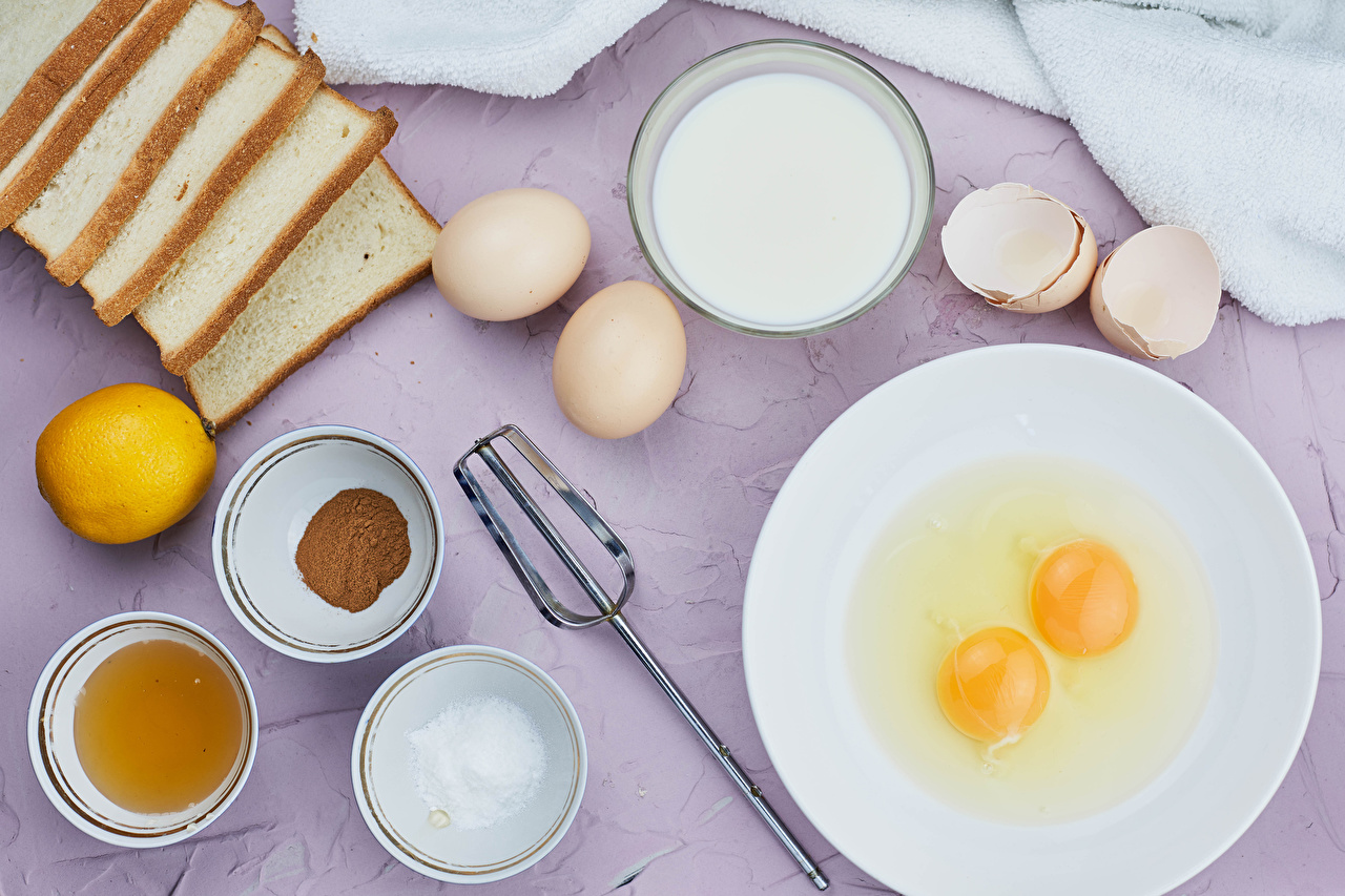 Картинка Молоко Яйца Хлеб солью Миска Лимоны Тарелка Продукты питания яиц яйцо яйцами соли Соль Еда Пища тарелке