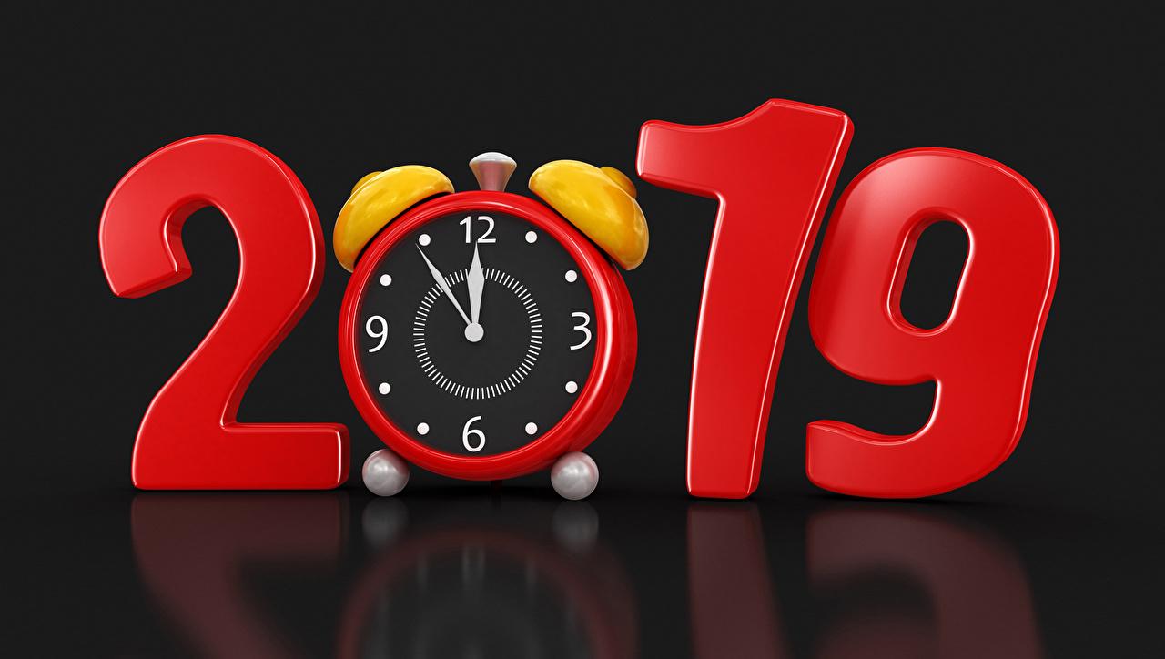 Картинка 2019 Новый год Часы 3D Графика Будильник на черном фоне Рождество Черный фон