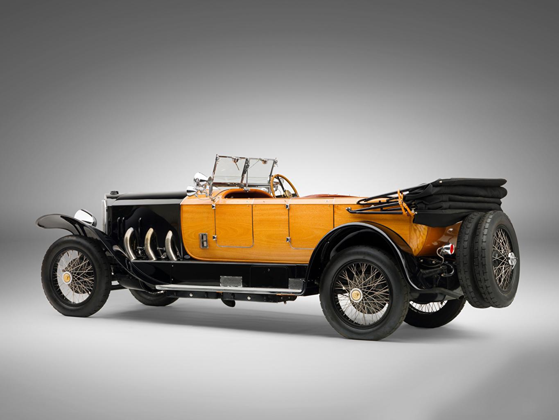 Картинки Мерседес бенц 28/95 HP Sport Phaeton, 1924 винтаж Сбоку Автомобили сером фоне Mercedes-Benz Ретро старинные авто машины машина автомобиль Серый фон