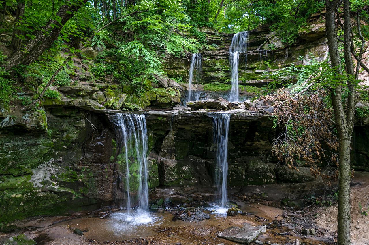 Обои США Minnesota Скала Природа Водопады Мох Камень штаты Утес Камни