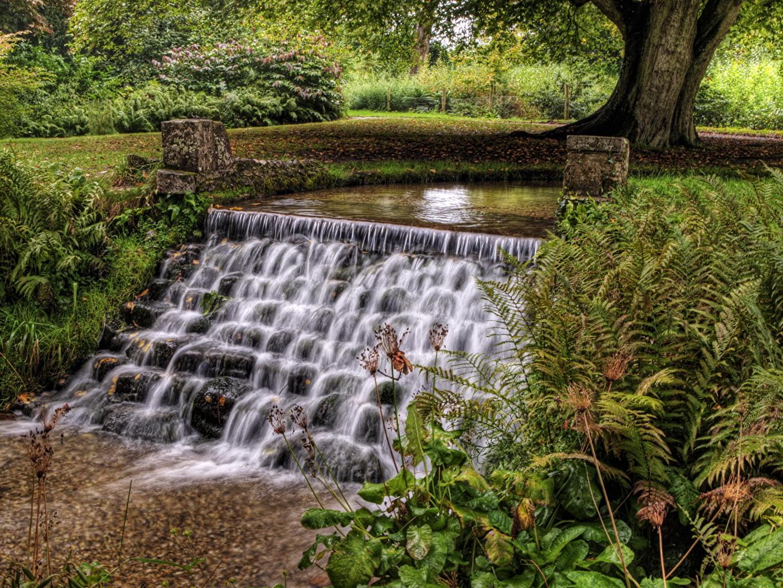 Картинки Англия Hampshire Природа Водопады Пруд