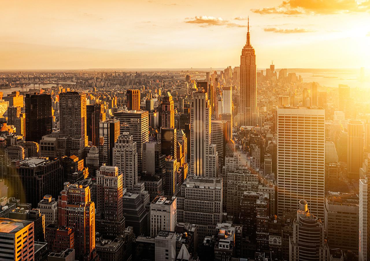 Обои для рабочего стола Нью-Йорк США Мегаполис Manhattan Здания Города штаты америка мегаполиса Дома город