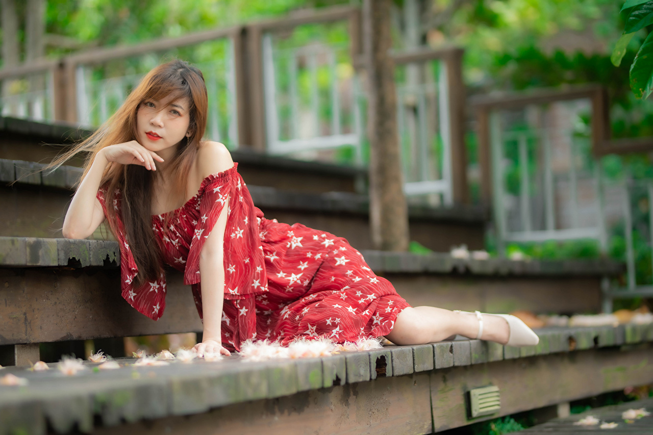 Фотографии боке Поза девушка лестницы азиатки смотрит платья Размытый фон позирует Девушки Лестница молодая женщина молодые женщины Азиаты азиатка Взгляд смотрят Платье